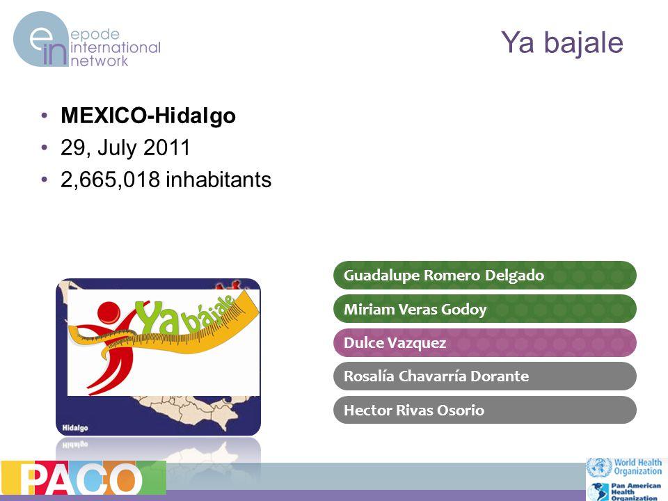 MEXICO-Hidalgo 29, July 2011 2,665,018 inhabitants Ya bajale Guadalupe Romero Delgado Dulce Vazquez Miriam Veras Godoy Rosalía Chavarría Dorante Hector Rivas Osorio