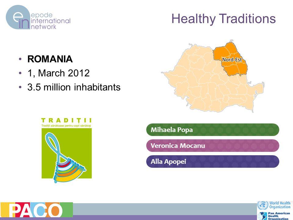 ROMANIA 1, March 2012 3.5 million inhabitants Healthy Traditions Alla Apopei Mihaela Popa Veronica Mocanu
