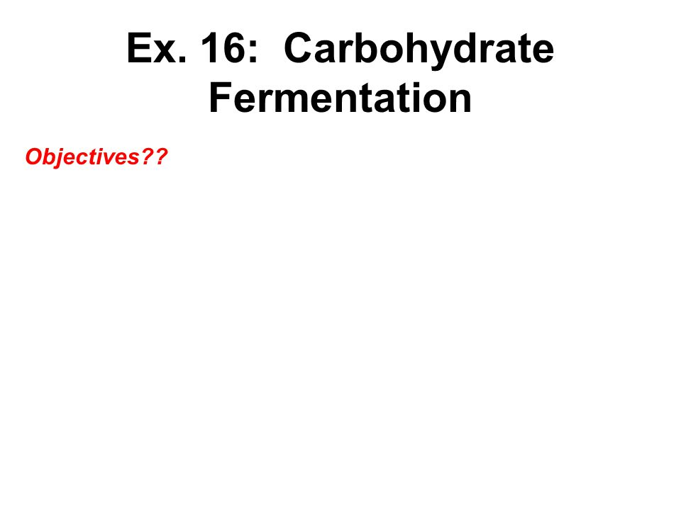 Ex. 16: Carbohydrate Fermentation Objectives??