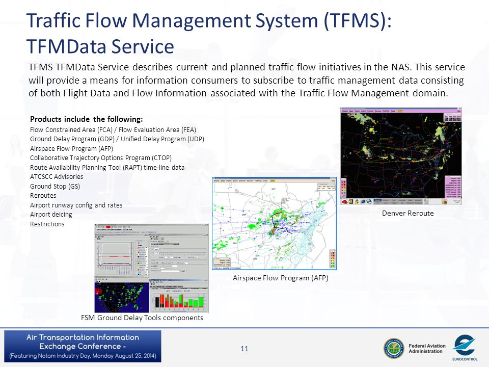 TFMS TFMData Service describes current and planned traffic flow initiatives in the NAS. This service will provide a means for information consumers to