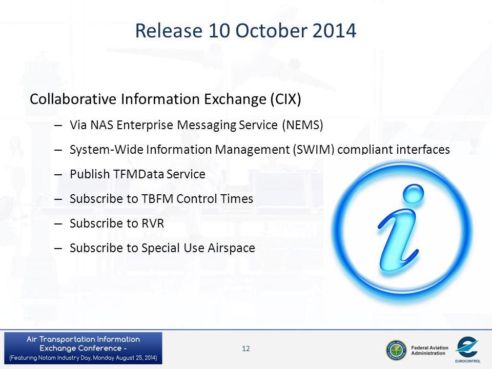 Release 10 October 2014 Collaborative Information Exchange (CIX) – Via NAS Enterprise Messaging Service (NEMS) – System-Wide Information Management (S