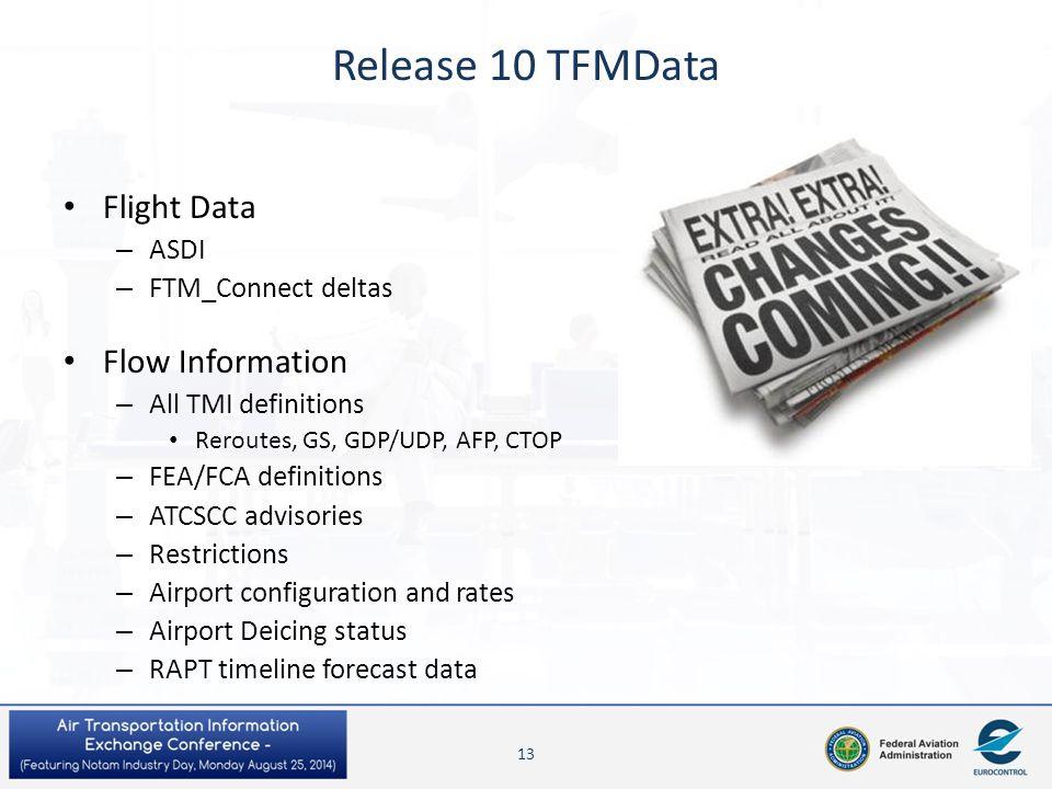 Release 10 TFMData Flight Data – ASDI – FTM_Connect deltas Flow Information – All TMI definitions Reroutes, GS, GDP/UDP, AFP, CTOP – FEA/FCA definitio