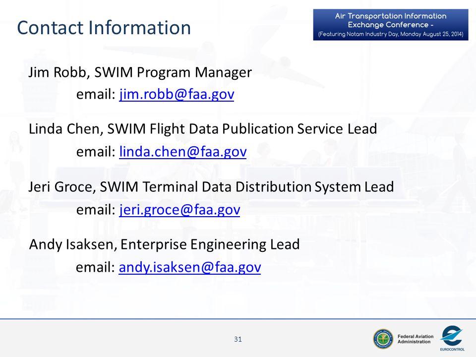 Contact Information 31 Jim Robb, SWIM Program Manager email: jim.robb@faa.govjim.robb@faa.gov Linda Chen, SWIM Flight Data Publication Service Lead em