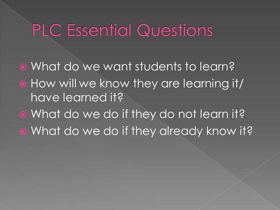  What do we want students to learn.  How will we know they are learning it/ have learned it.