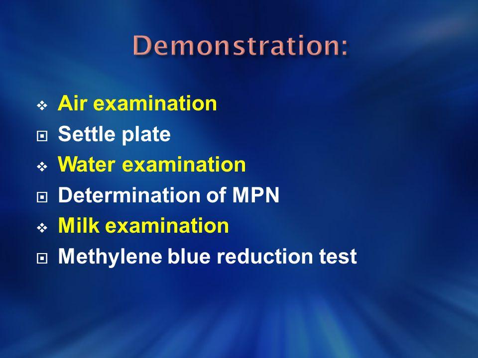  Air examination  Settle plate  Water examination  Determination of MPN  Milk examination  Methylene blue reduction test