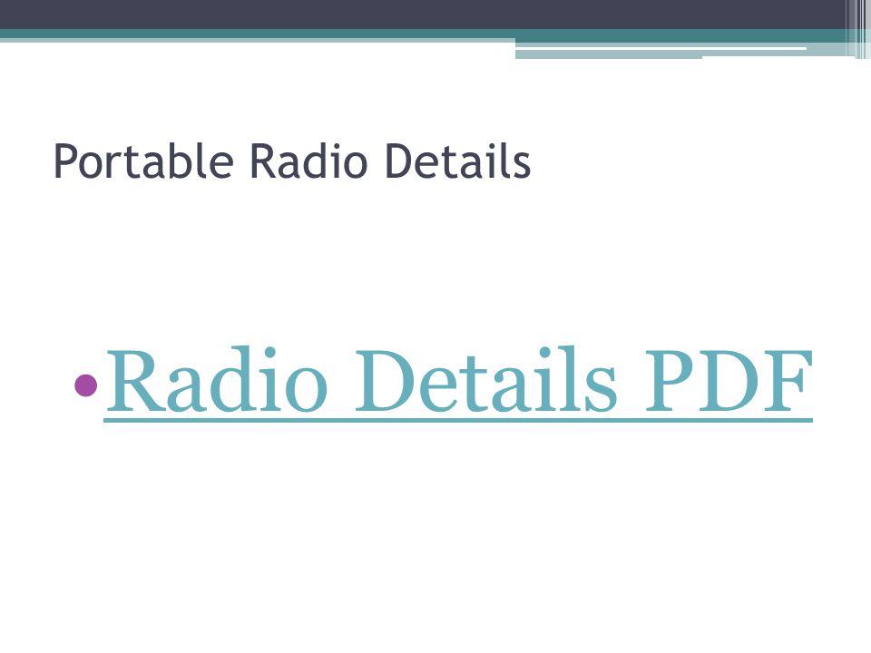 Portable Radio Details Radio Details PDF