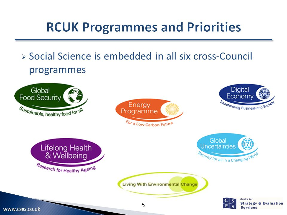 www.cses.co.ukwww.cses.co.uk 5  Social Science is embedded in all six cross-Council programmes