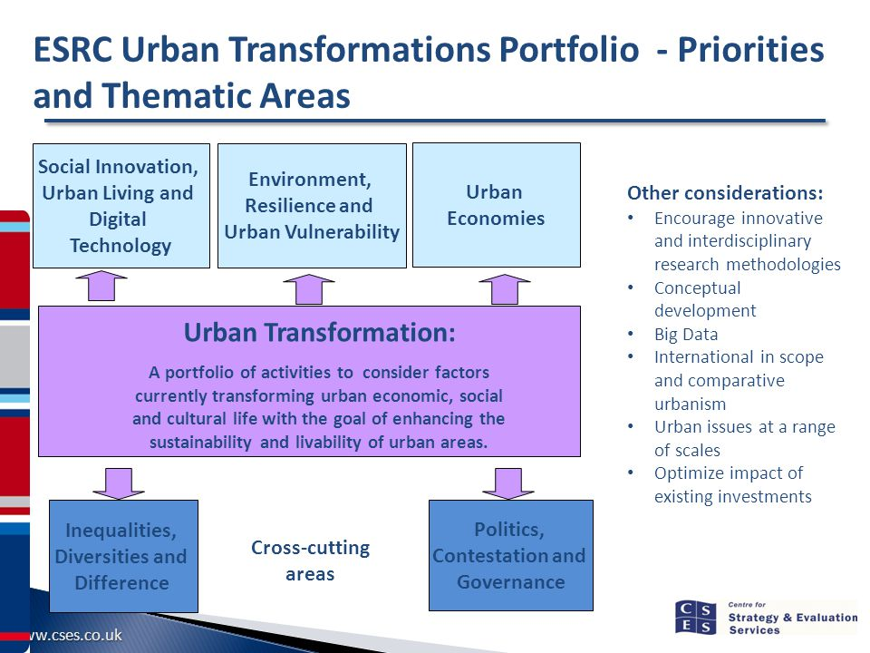 www.cses.co.uk Urban Transformation: A portfolio of activities to consider factors currently transforming urban economic, social and cultural life with the goal of enhancing the sustainability and livability of urban areas.