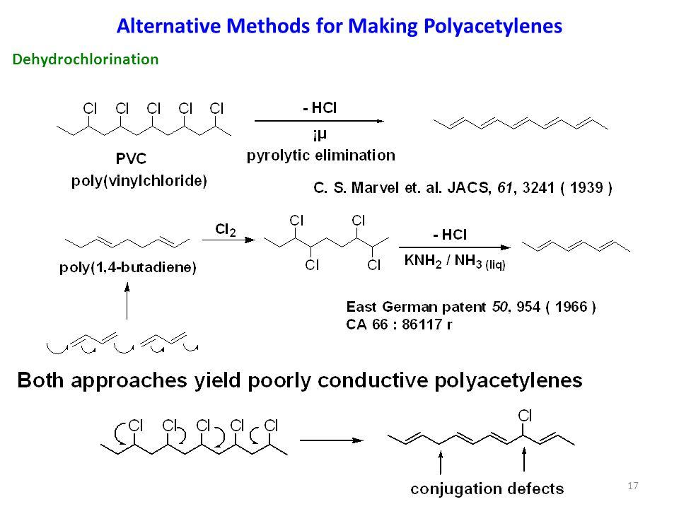 Alternative Methods for Making Polyacetylenes 17 Dehydrochlorination