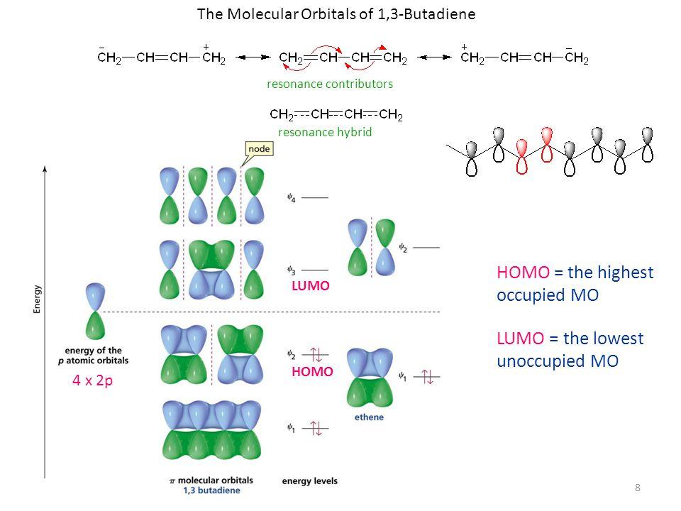 8 The Molecular Orbitals of 1,3-Butadiene resonance contributors resonance hybrid HOMO LUMO HOMO = the highest occupied MO LUMO = the lowest unoccupied MO 4 x 2p