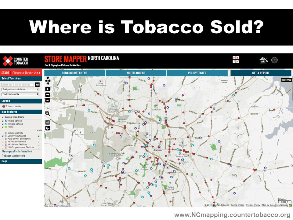 Where is Tobacco Sold www.NCmapping.countertobacco.org