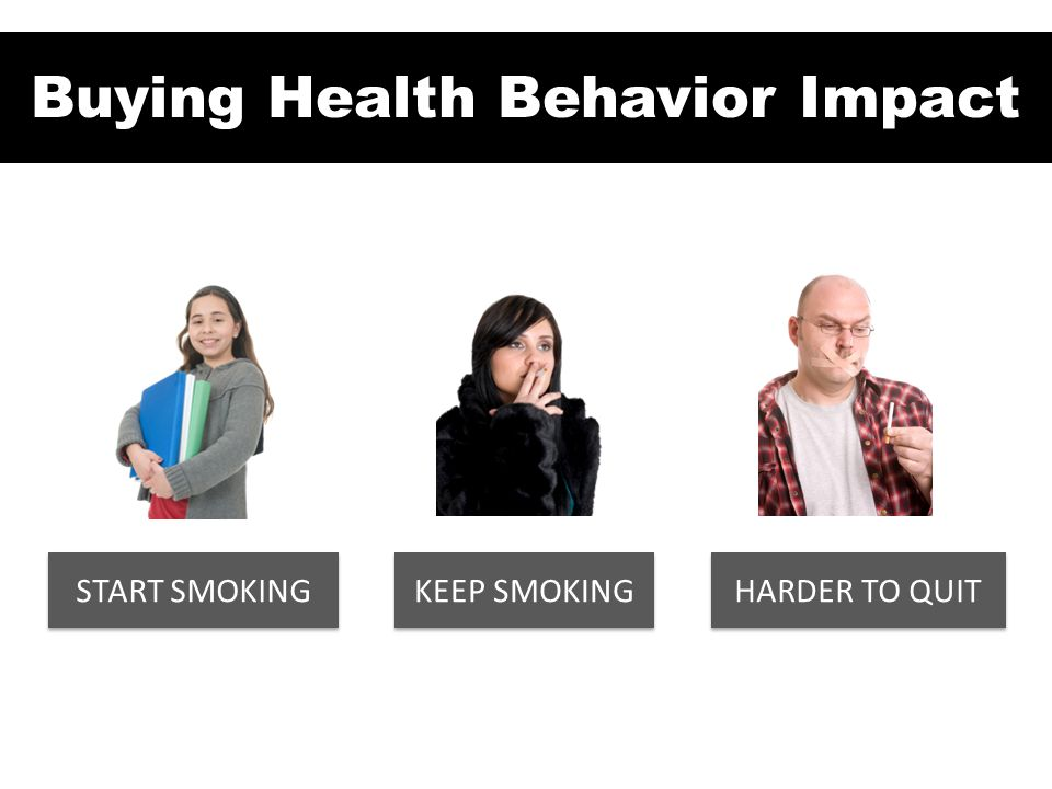 Industry is buying health behavior impact START SMOKING KEEP SMOKING HARDER TO QUIT Buying Health Behavior Impact