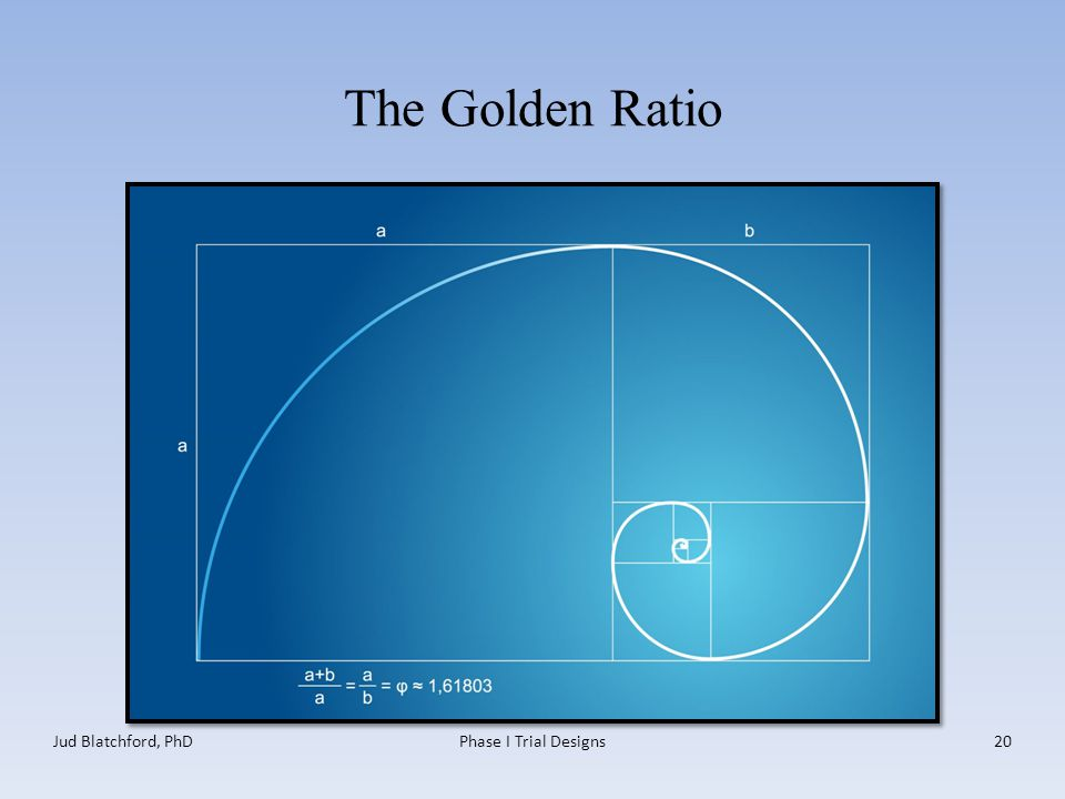 The Golden Ratio Jud Blatchford, PhDPhase I Trial Designs20