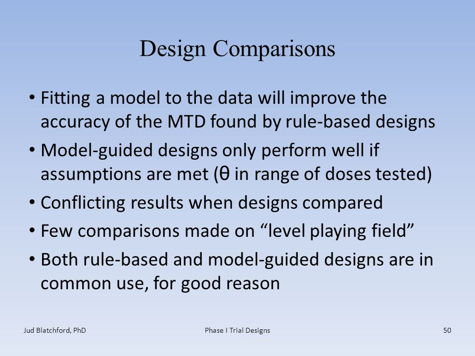 Design Comparisons Fitting a model to the data will improve the accuracy of the MTD found by rule-based designs Model-guided designs only perform well if assumptions are met ( θ in range of doses tested) Conflicting results when designs compared Few comparisons made on level playing field Both rule-based and model-guided designs are in common use, for good reason Jud Blatchford, PhDPhase I Trial Designs50