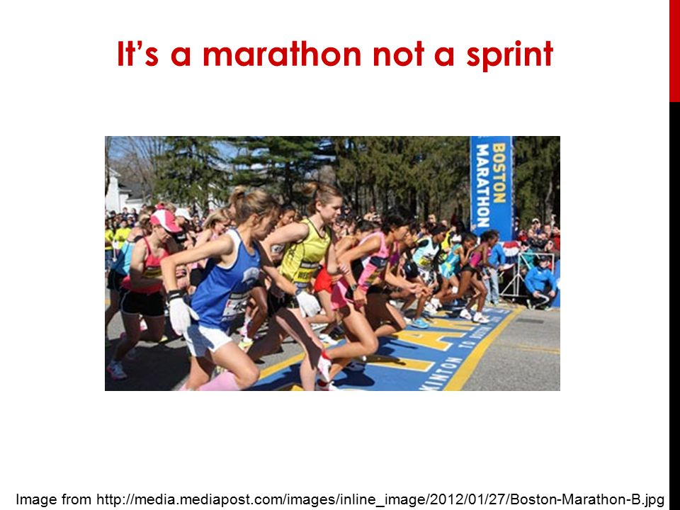 It's a marathon not a sprint Image from http://media.mediapost.com/images/inline_image/2012/01/27/Boston-Marathon-B.jpg