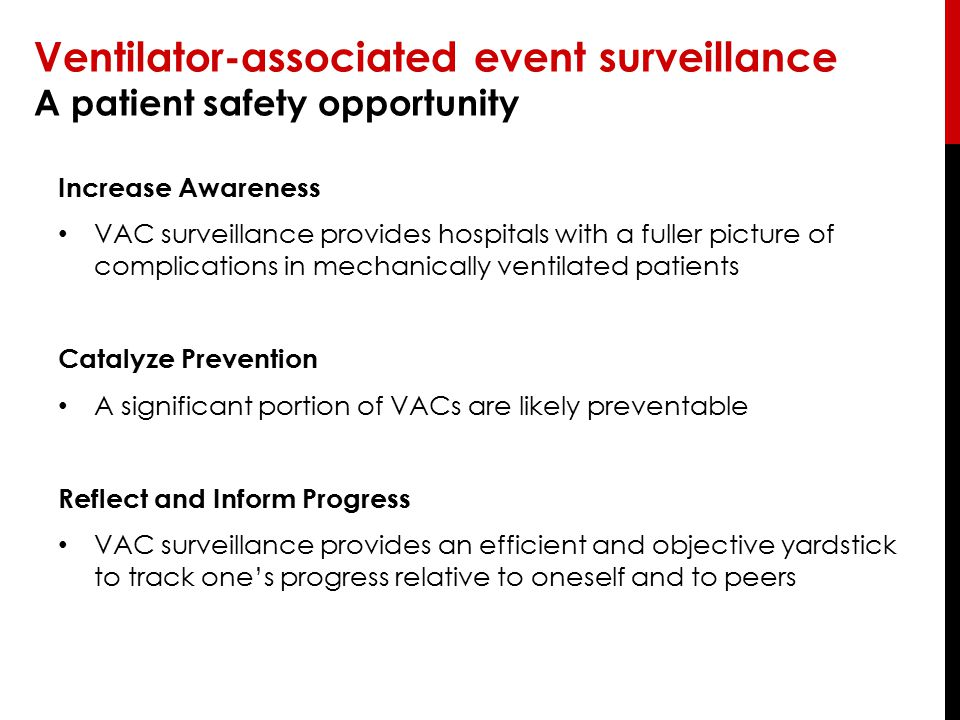 Ventilator-associated event surveillance A patient safety opportunity Increase Awareness VAC surveillance provides hospitals with a fuller picture of