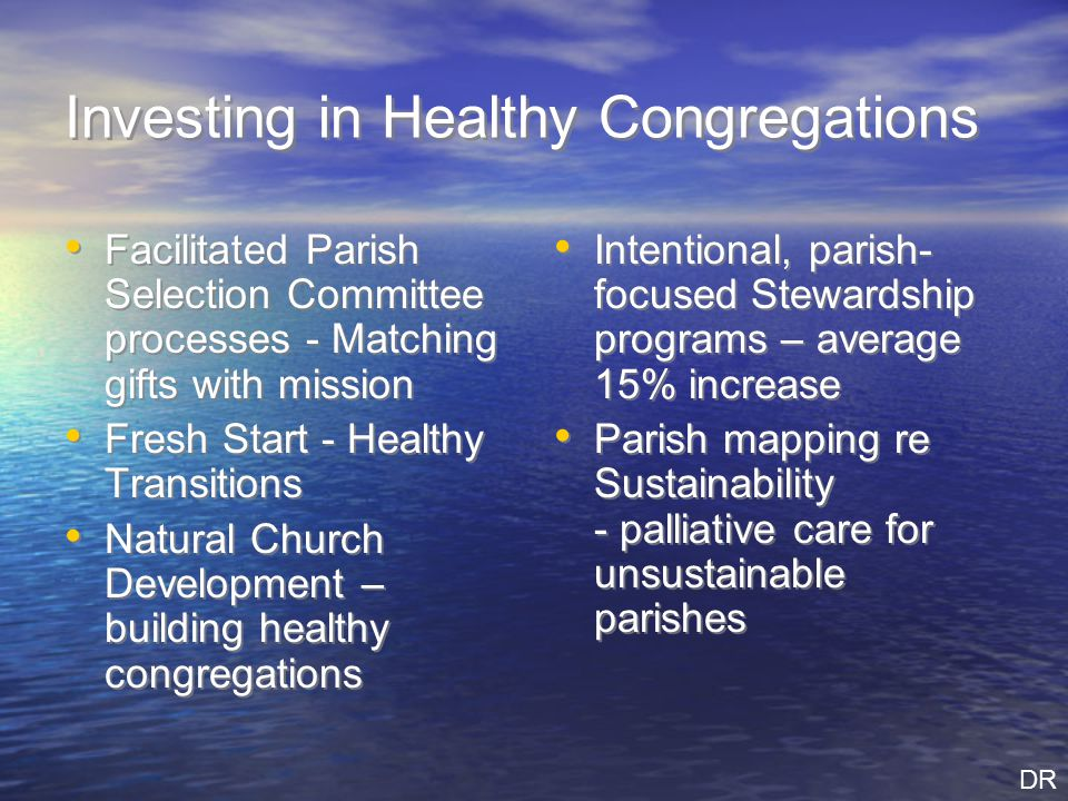 Investing in Healthy Congregations Facilitated Parish Selection Committee processes - Matching gifts with mission Fresh Start - Healthy Transitions Natural Church Development – building healthy congregations Facilitated Parish Selection Committee processes - Matching gifts with mission Fresh Start - Healthy Transitions Natural Church Development – building healthy congregations Intentional, parish- focused Stewardship programs – average 15% increase Parish mapping re Sustainability - palliative care for unsustainable parishes Intentional, parish- focused Stewardship programs – average 15% increase Parish mapping re Sustainability - palliative care for unsustainable parishes DR