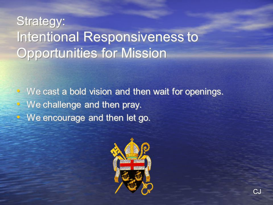 Strategy: Intentional Responsiveness to Opportunities for Mission We cast a bold vision and then wait for openings.