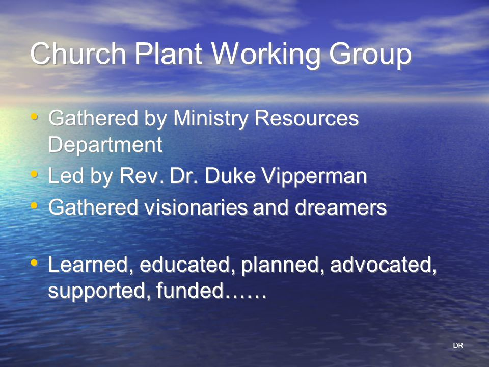Church Plant Working Group Gathered by Ministry Resources Department Led by Rev.