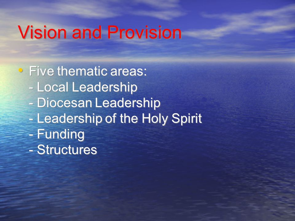 Vision and Provision Five thematic areas: - Local Leadership - Diocesan Leadership - Leadership of the Holy Spirit - Funding - Structures