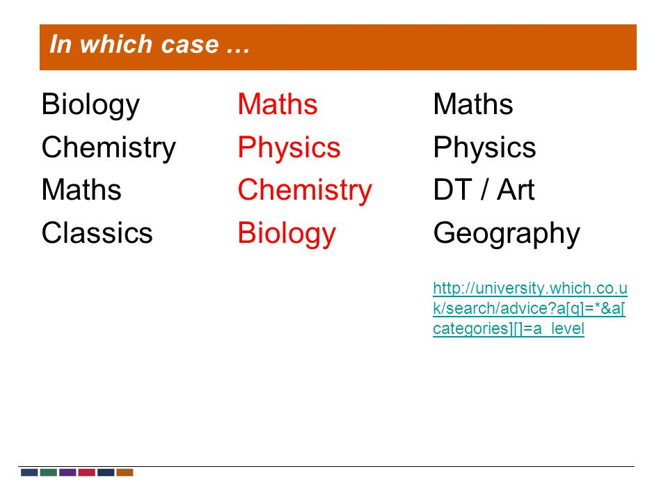 Biology Chemistry Maths Classics Maths Physics Chemistry Biology Maths Physics DT / Art Geography http://university.which.co.u k/search/advice?a[q]=*&