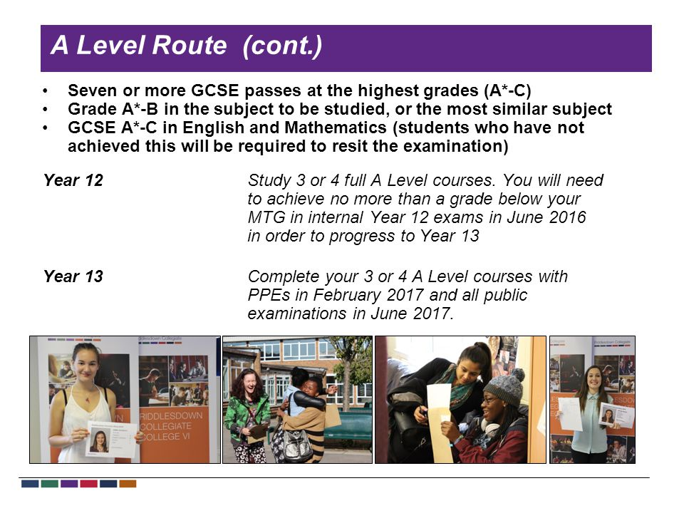 A Level Route (cont.) Seven or more GCSE passes at the highest grades (A*-C) Grade A*-B in the subject to be studied, or the most similar subject GCSE A*-C in English and Mathematics (students who have not achieved this will be required to resit the examination) Year 12Study 3 or 4 full A Level courses.