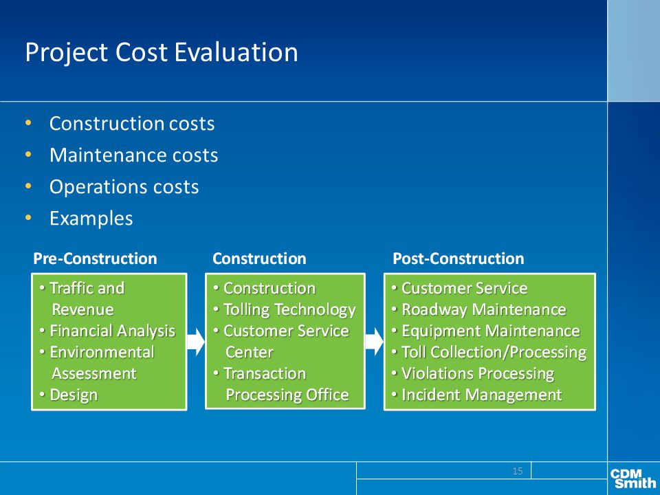 Project Cost Evaluation Construction costs Maintenance costs Operations costs Examples 15