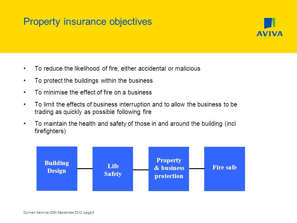 Durham Seminar 20th September 2012 page 8 Property insurance objectives To reduce the likelihood of fire, either accidental or malicious To protect the buildings within the business To minimise the effect of fire on a business To limit the effects of business interruption and to allow the business to be trading as quickly as possible following fire To maintain the health and safety of those in and around the building (incl firefighters) Building Design Life Safety Property & business protection Fire safe