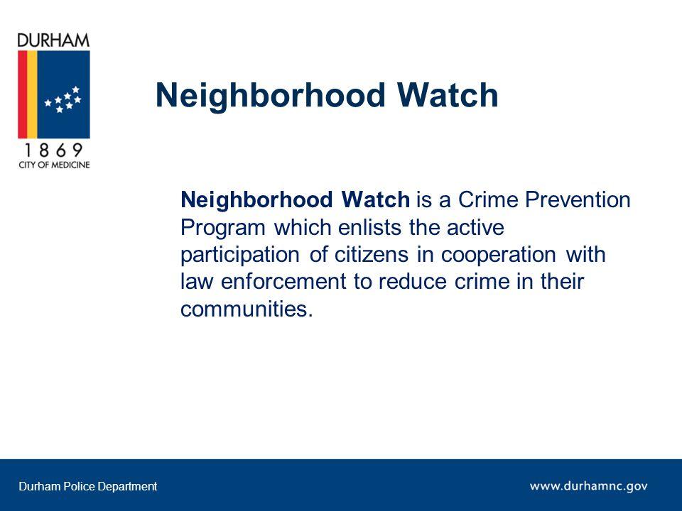Durham Police Department Project Safe Neighborhoods Coordinator (919) 560-4322