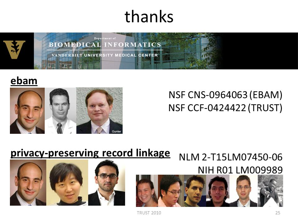 thanks NLM 2-T15LM07450-06 NIH R01 LM009989 25TRUST 2010 NSF CNS-0964063 (EBAM) NSF CCF-0424422 (TRUST) ebam privacy-preserving record linkage