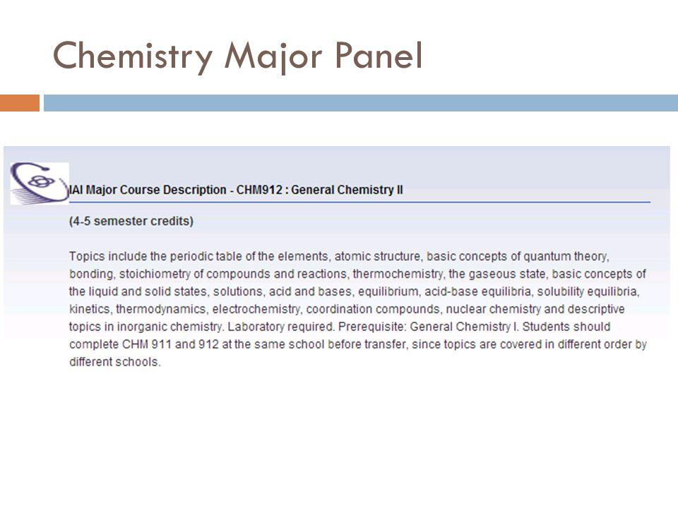 Chemistry Major Panel