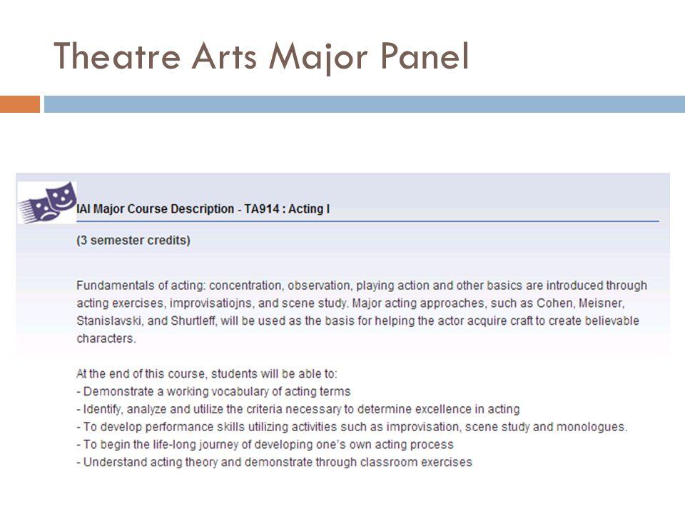 Theatre Arts Major Panel