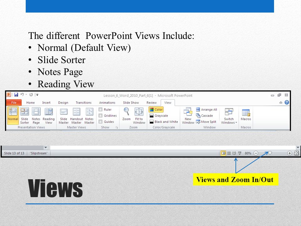 Views The different PowerPoint Views Include: Normal (Default View) Slide Sorter Notes Page Reading View Views and Zoom In/Out