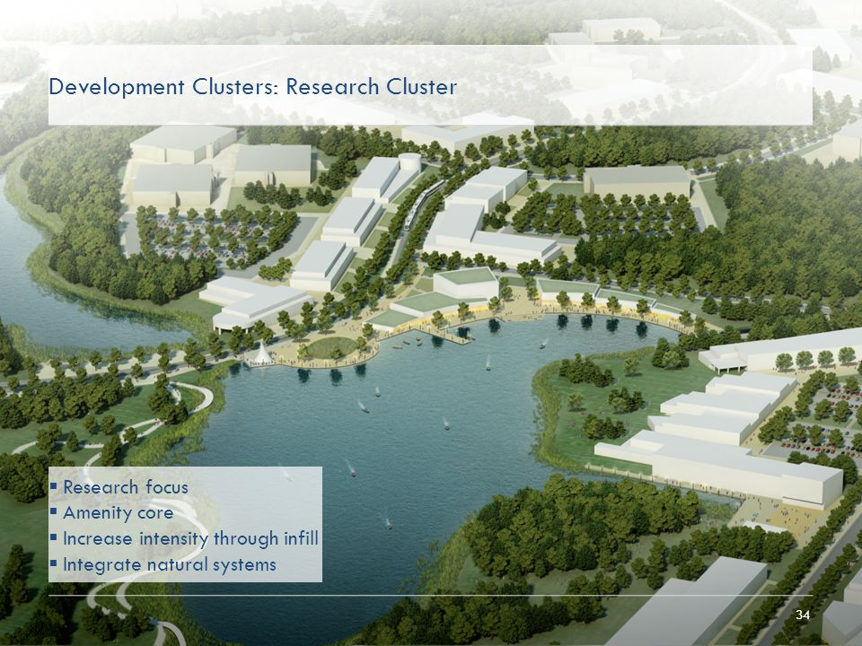 34 Development Clusters: Research Cluster  Research focus  Amenity core  Increase intensity through infill  Integrate natural systems