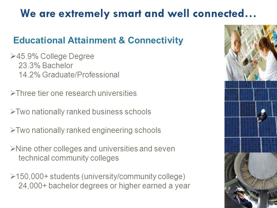 Educational Attainment & Connectivity  45.9% College Degree 23.3% Bachelor 14.2% Graduate/Professional  Three tier one research universities  Two nationally ranked business schools  Two nationally ranked engineering schools  Nine other colleges and universities and seven technical community colleges  150,000+ students (university/community college) 24,000+ bachelor degrees or higher earned a year We are extremely smart and well connected…