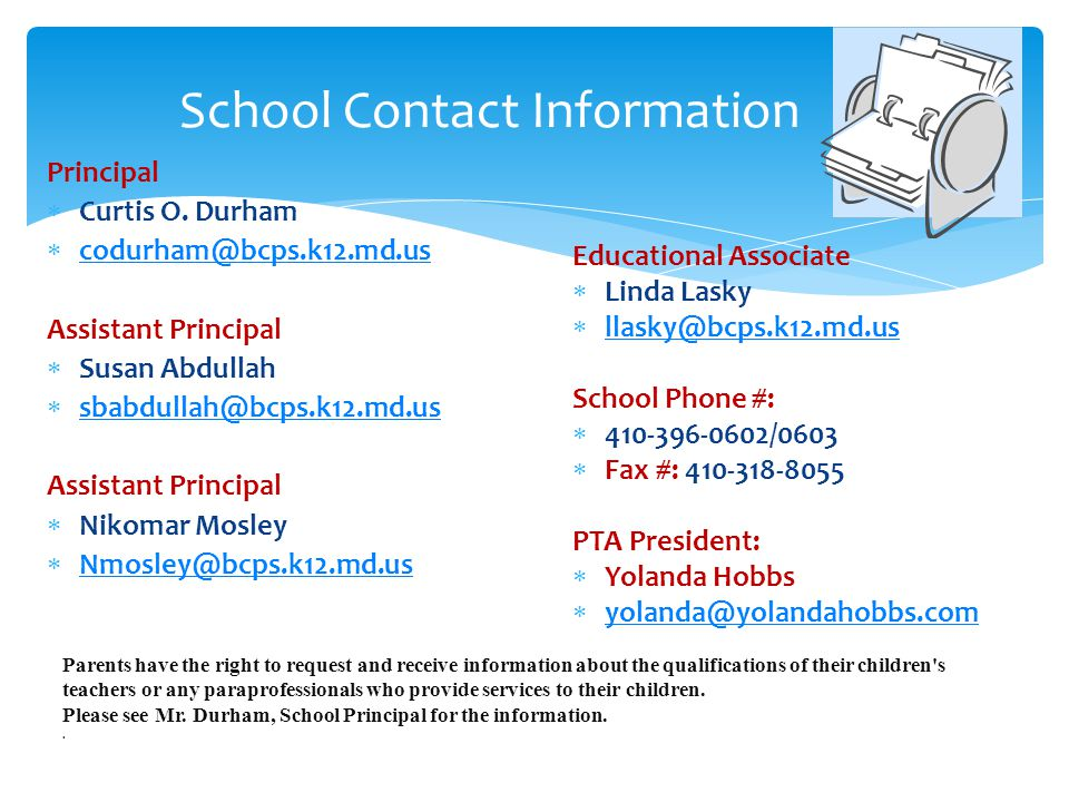 School Contact Information Principal  Curtis O.