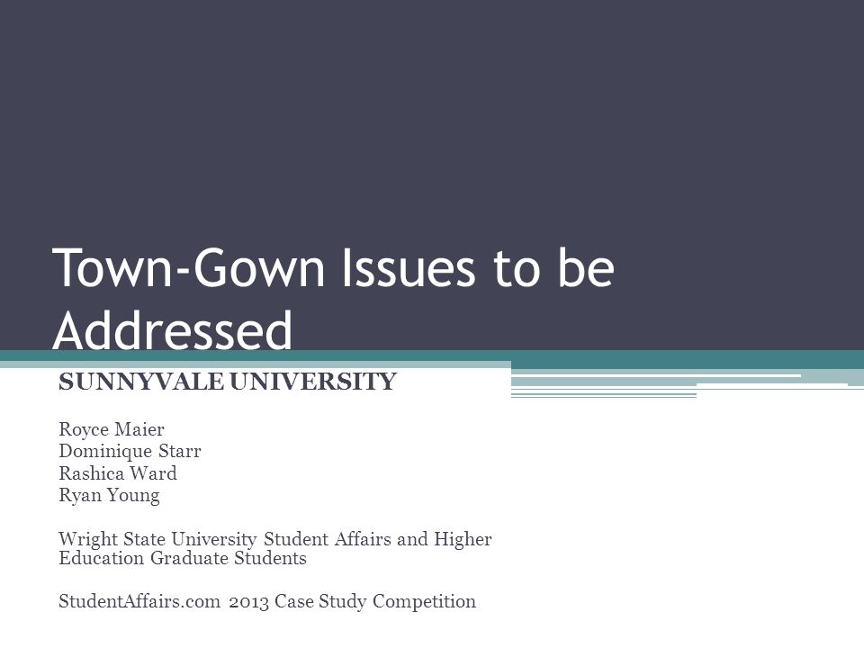 Town-Gown Issues to be Addressed SUNNYVALE UNIVERSITY Royce Maier Dominique Starr Rashica Ward Ryan Young Wright State University Student Affairs and Higher Education Graduate Students StudentAffairs.com 2013 Case Study Competition