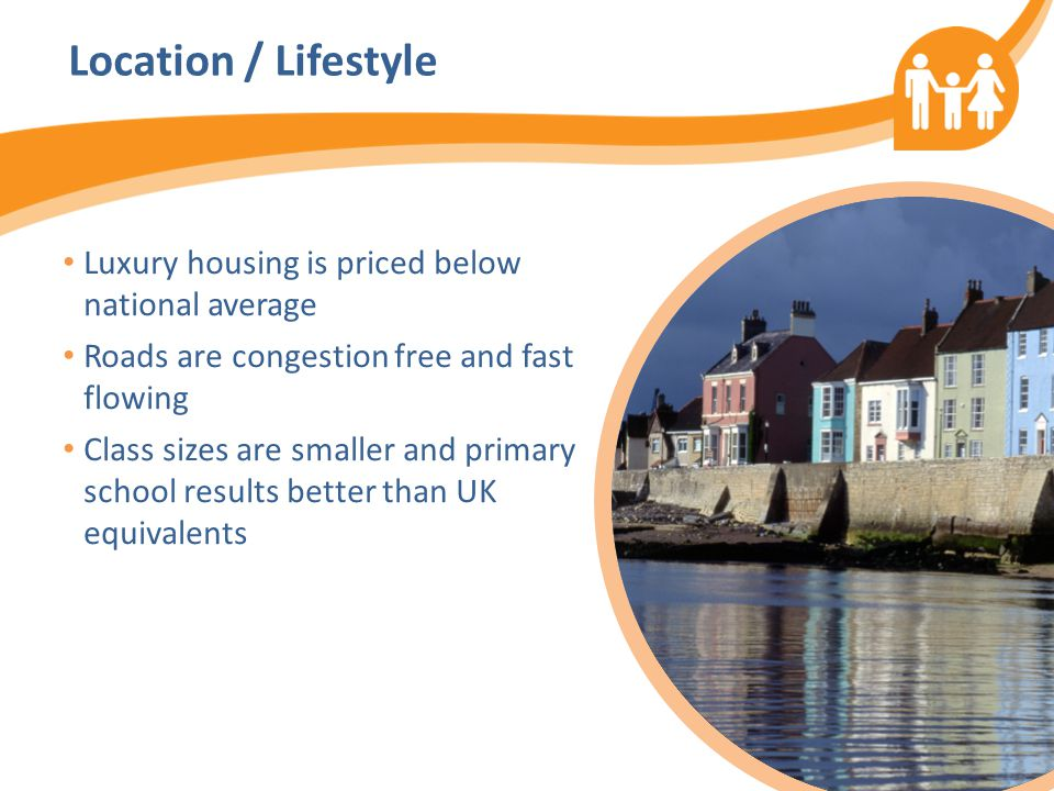 Location / Lifestyle Luxury housing is priced below national average Roads are congestion free and fast flowing Class sizes are smaller and primary school results better than UK equivalents