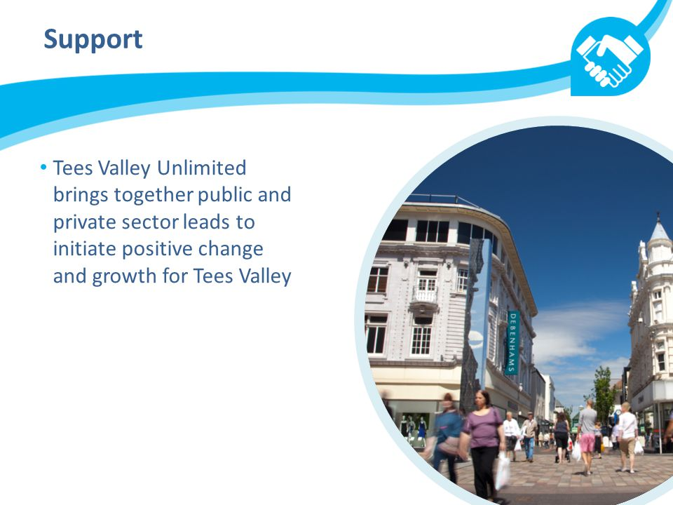 Support Tees Valley Unlimited brings together public and private sector leads to initiate positive change and growth for Tees Valley
