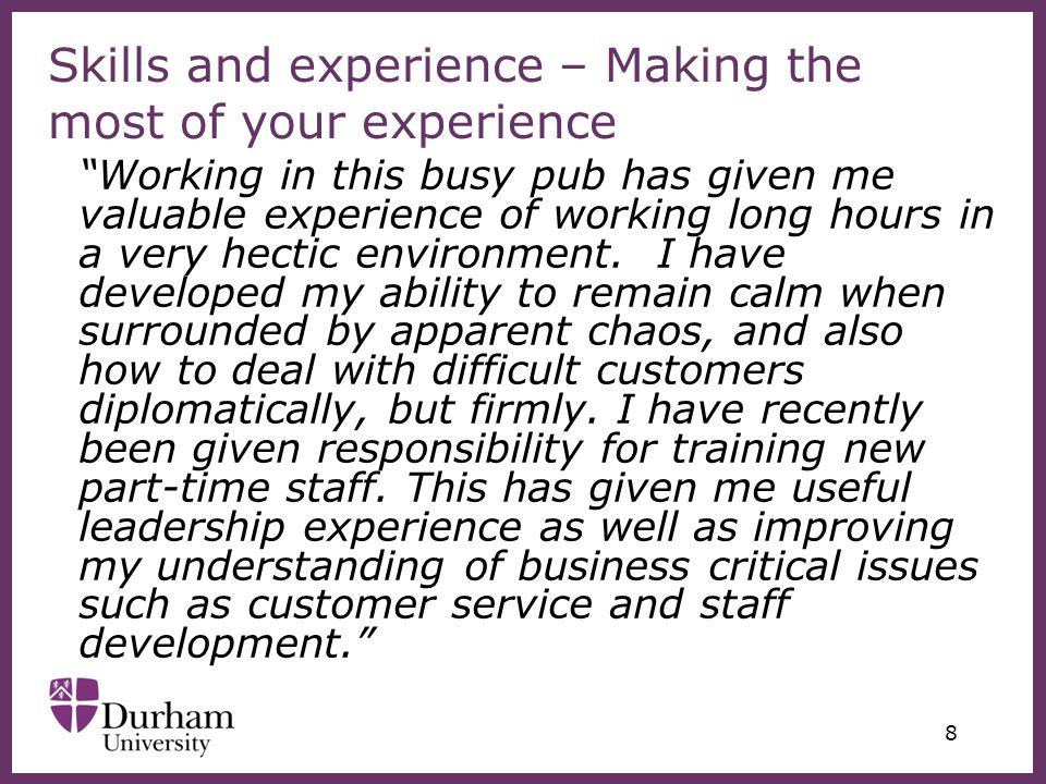 ∂ 29 University of Durham 49 New Elvet Durham DH1 3PF Tel: 0191 334 1430 careers@durham.ac.uk www.durham.ac.uk/careers www.facebook.com/careersatdurham http://careersatdurham.wordpress.com DUO Employability & Skills tab Monday to Friday 10am – 5pm (term time) 10am – 1pm and 2.15pm – 5pm (vacations) Careers, Employability and Enterprise Centre (CEEC)
