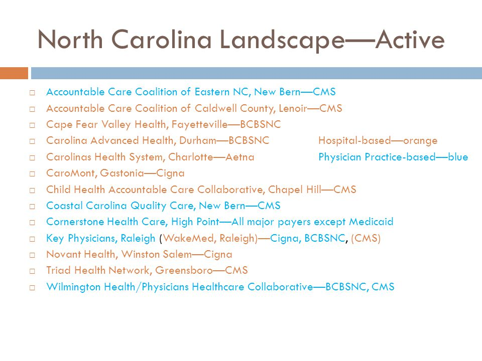 North Carolina Landscape—Active  Accountable Care Coalition of Eastern NC, New Bern—CMS  Accountable Care Coalition of Caldwell County, Lenoir—CMS 