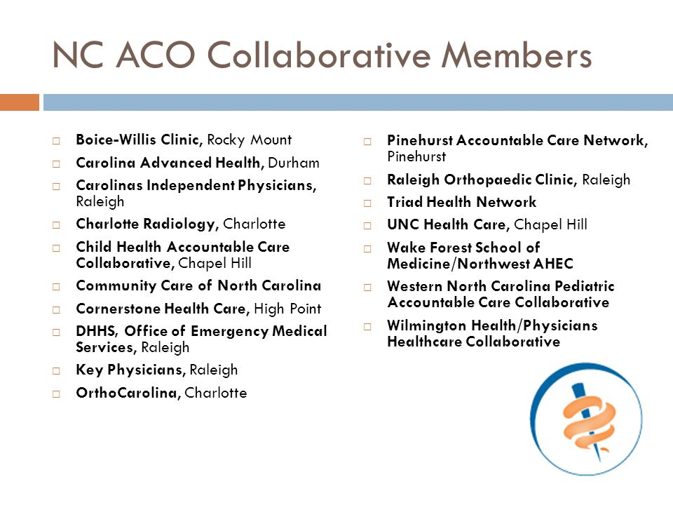 NC ACO Collaborative Members  Boice-Willis Clinic, Rocky Mount  Carolina Advanced Health, Durham  Carolinas Independent Physicians, Raleigh  Charl