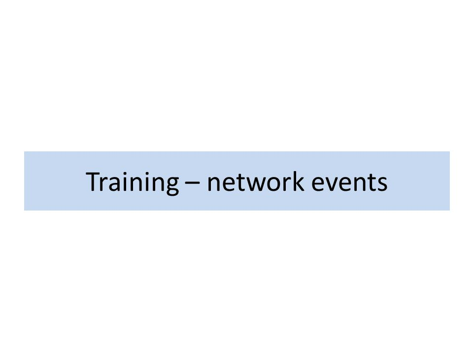 Training – network events