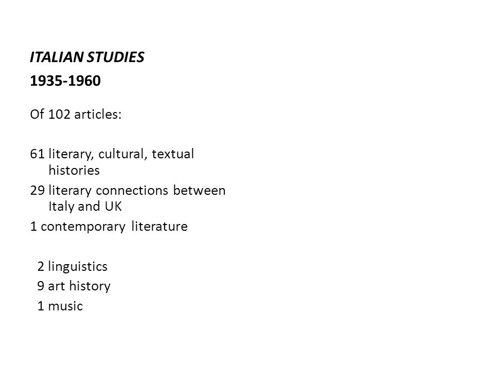 ITALIAN STUDIES 1935-1960 Of 102 articles: 61 literary, cultural, textual histories 29 literary connections between Italy and UK 1 contemporary literature 2 linguistics 9 art history 1 music