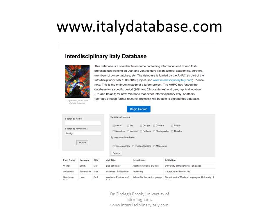 www.italydatabase.com Dr Clodagh Brook, University of Birmingham, www.interdisciplinaryitaly.com