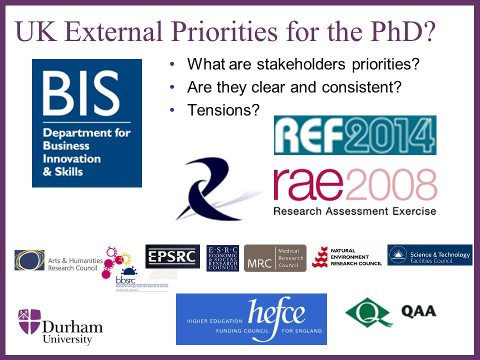 ∂ UK External Priorities for the PhD? What are stakeholders priorities? Are they clear and consistent? Tensions?