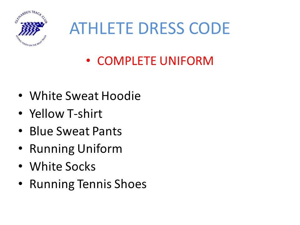 ATHLETE DRESS CODE COMPLETE UNIFORM White Sweat Hoodie Yellow T-shirt Blue Sweat Pants Running Uniform White Socks Running Tennis Shoes