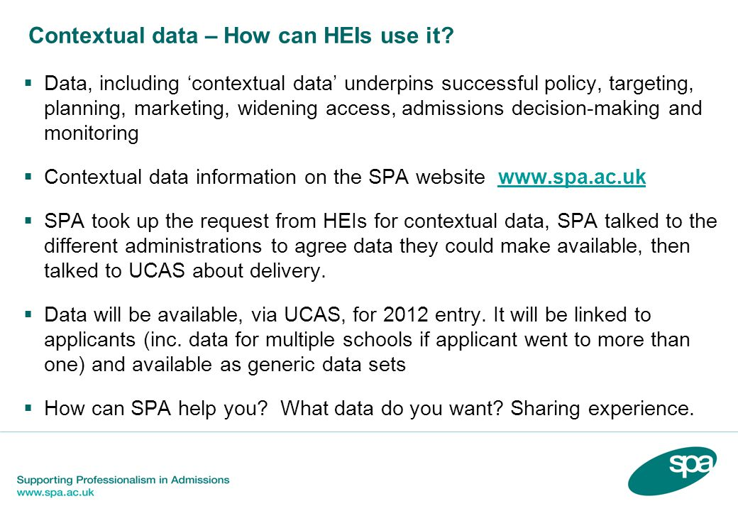 Contextual data – How can HEIs use it.