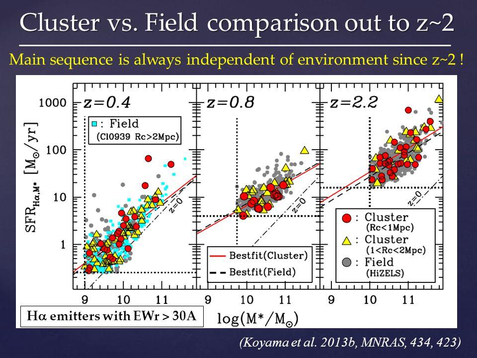 Cluster vs. Field comparison out to z~2 (Koyama et al.