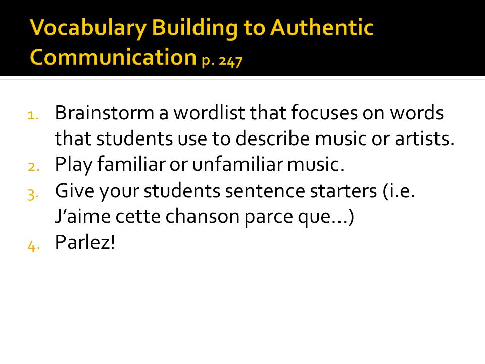 1. Brainstorm a wordlist that focuses on words that students use to describe music or artists.